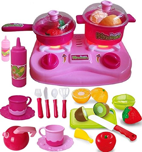 Play Food and Dishes Set- With Adorable Cutting Play Fruits - Play Dishes - Pots and Pans - Play Kitchen Utensils - Mini Stove Top (lights & sounds) in a Beautiful Storage Box - Best Gift For Toddlers