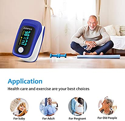 Pulse Oximeter Professional Fingertip Pulse Oximetry with OLED Display  Perfusion Index, Pulse Rate Monitor Blood Oxygen Saturation Sensor by  JUMPER-