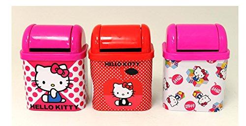 Hello Kitty Desktop - Hello Kitty Flip Lid Desktop Tin / Trash Can x 3 (1 each design)