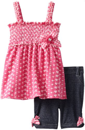 Little Lass Girls 2-6X 2 Piece Bermuda Short Set With Puff Print