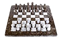 RADICAL Handmade Grey Oceanic and White Marble Full Chess Game Original Marble Chess Set