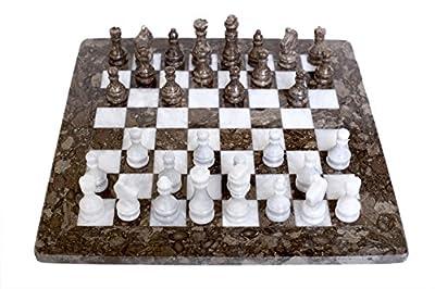 RADICALn Handmade Grey Oceanic and White Marble Full Chess Game Original Marble Chess Set