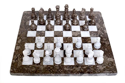 RADICALn Handmade Marble Grey Oceanic and White Weighted Popular Play Board Chess Game Set for Adult - New Tournament Gift Style Classic Chess Sets - Non Othello Non Backgammon Non Wooden