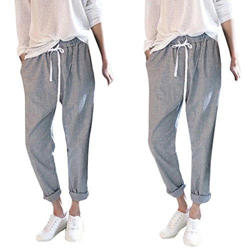 Waisted Wool - Pervobs Women Pants, Big Promotion! Plus Size Women Vintage Striped High Waist Casual Loose Long Trousers Harem Pants (M, Gray)