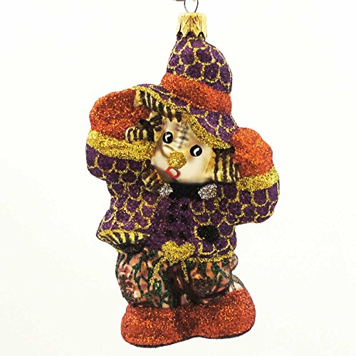 Larry Fraga PATCHES Blown Glass Halloween Ornament Scarecrow 5963