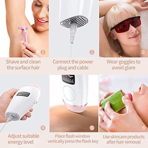 IPL Geräte Haarentfernung, IPL Haarentfernungsgerät für Frauen und Männer für Körper und Gesicht, Präzisionsaufsatz für Empfindlichere Bereiche, IPL 999,999 Blitze