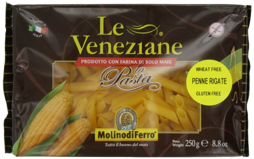 Gluten Free Corn Pasta - Le Veneziane Penne Rigate, 250-Gram Packages (Pack of 6)