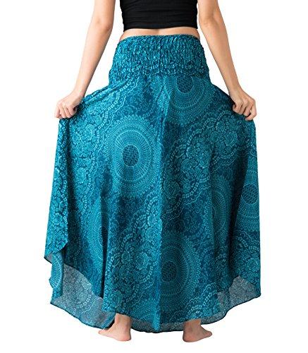Bangkokpants-Womens-Long-Hippie-Bohemian-Skirt-Gypsy-Dress-Boho-Clothes-Flowers-One-Size-Fits-Asymmetric-Hem-Design