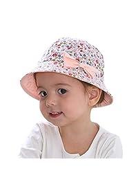 Summer Baby Girls Sun Hat Cotton Baby Hat Kids Child Cap Bowknot Flower Print