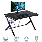 "oneinmil Gaming Desk Gaming Table - 43.5"" R Shaped Office PC Computer Gaming Desk Gamer Desk with Cup Holder and Headphone Hook Gamer Workstation Game Table (43.5"" W x 27.6"" D)"