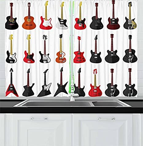 Amazon Com Ambesonne Guitar Kitchen Curtains Musical Instruments Set Pattern With Various Acoustic Bass Making Music Window Drapes 2 Panel For Cafe Decor 55 X 39 Vermilion White Home