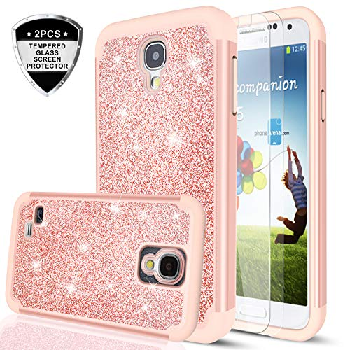 Galaxy S4 Glitter Case with Tempered Glass Screen Protector for sale  Delivered anywhere in USA