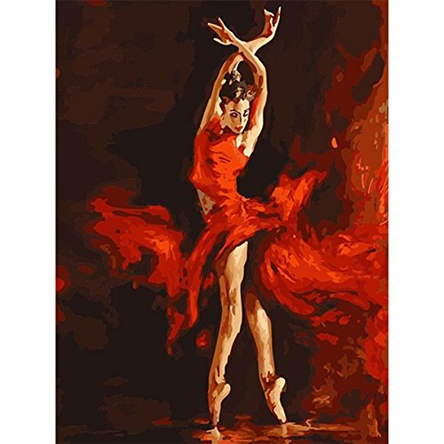 DIY Oil Painting, Paint by Number Kit for Home Wall Decor Art Gift, Tiptoe Ballet Girl