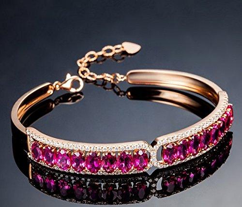 Gowe 7.0CT Certifié Rouge violacé Tourmaline Or rose 18K Bracelet avec diamant 0,89CT Tourmaline Bracelet