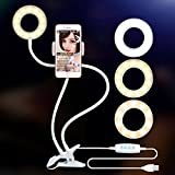 Ring Light with Cell Phone Holder for Live Stream, Dimmable [3-Light Mode][9-Level Brightness] Clamp on Selfie Light with Lazy Bracket for Youtube, Facebook, iphone8,7,6/plus/X,Samsung,HTC