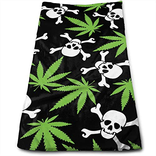 - Marijuana Weed Skull Crossbones Black Compressed Quick-Dry Velour Fingertip Towels Washcloth - Carry-on, Durable, Lightweight, Commercial Grade, Ultra Absorbent - 12x27.5 Inches