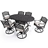 """Nuu Garden 7 Piece Patio Solid Cast Aluminum Conversation Dining Set with 72"""" x 42"""" Oval Table and 6 Swivel Rocking Chairs SCD003-02-MH-0225 (oat cushions)"""