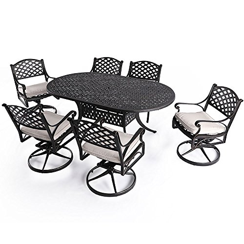 "Nuu Garden 7 Piece Patio Solid Cast Aluminum Conversation Dining Set with 72"" x 42"" Oval Table and 6 Swivel Rocking Chairs SCD003-02-MH-0225 (Oat Cushions)"