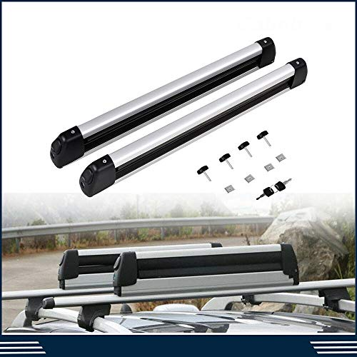 W4-moto 2pcs 30'' Universal Aluminum Roof Rack Snowboard Ski Mounted Carrier Cross Bar Cargo Rack Carrier Holder w/Key Fit Most Vehicles Equipped Cross Bars