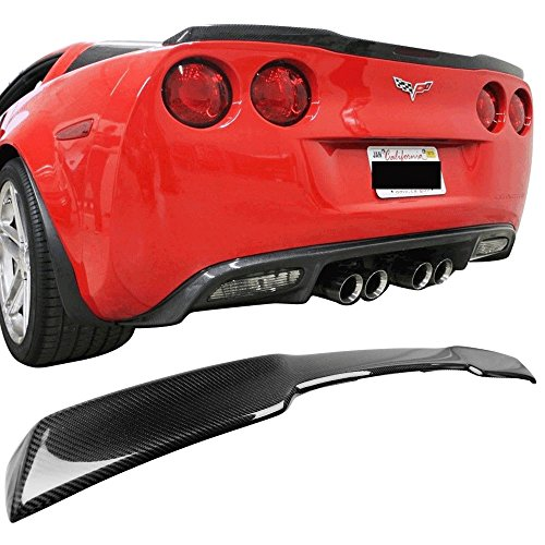 Trunk Spoiler Fits 2006-2013 Chevy Corvette C6 Z06 ZR1 | Carbon Fiber CF Rear Wing by IKON MOTORSPORTS | 2007 2008 2009 2010 2011 2012 Chevy Corvette Carbon Fiber