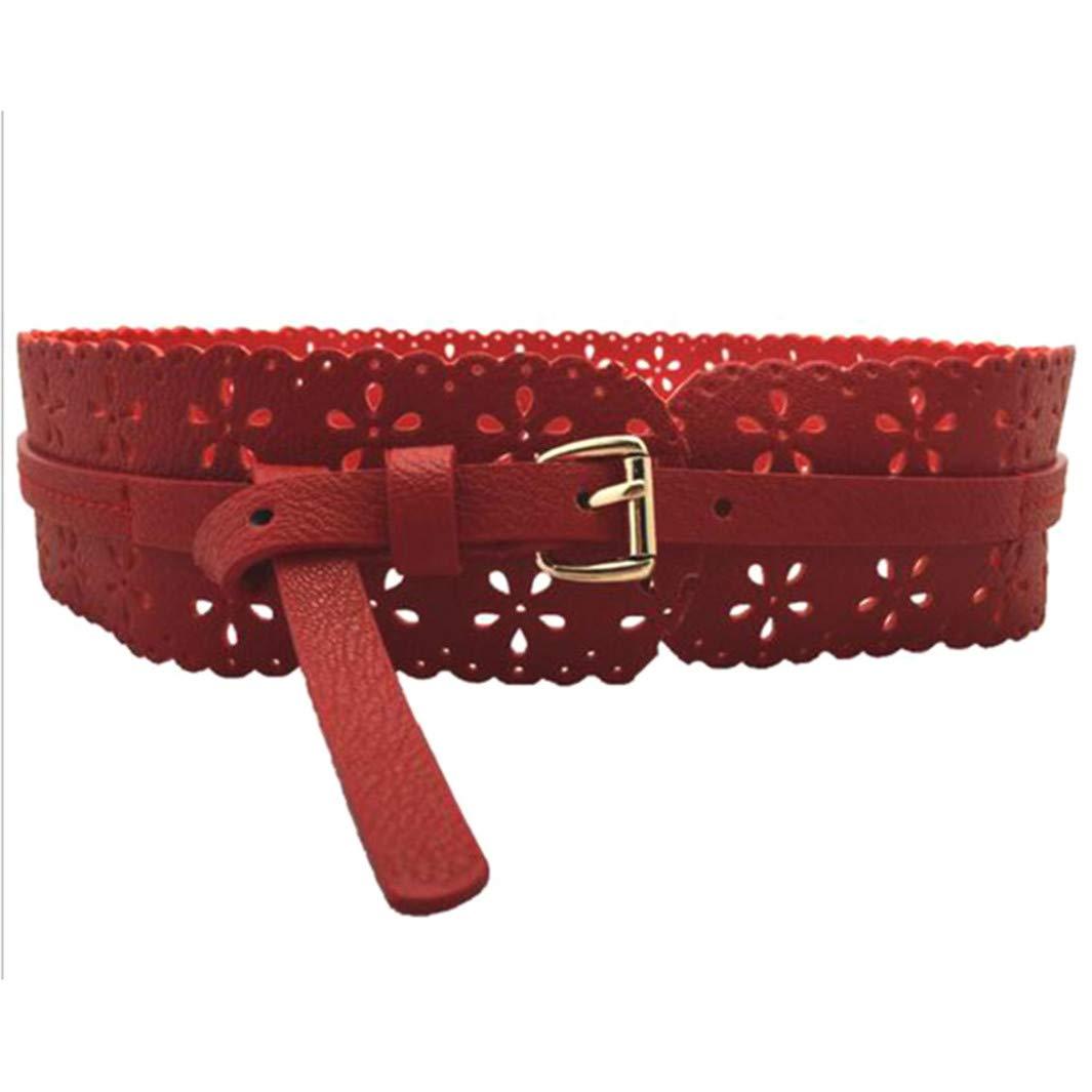 YouCY Carved Belt Women Stylish Vintage Openwork Flower Belt Temperament Women Imitate Leather Belt Hollow Decoration Waistband,Yellow