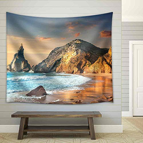 Ocean Landscape at Sundown Big Rocks and Stones Beach Portugal Europe Fabric Wall