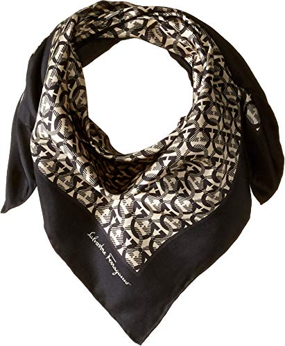 Salvatore Ferragamo Women's Ganci Logo Wrap Scarf Black One Size