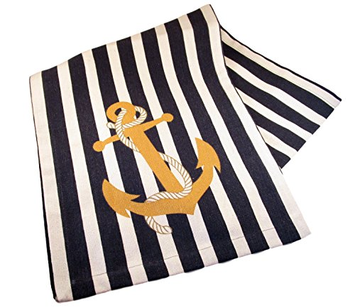 Cotton Canvas Summer Table Runner - Nautical Printed Designs (Anchor on Stripes)