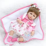 Reborn Baby Doll Girl Silicone Open Eyes Real life New Born 18 inch Pink Dress