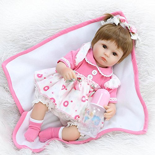 Reborn Baby Doll Girl Silicone Open Eyes Real life New Born 18 inch Pink Dress by Seedollia