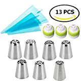 Russian Piping Tips,Smozer 13 pieces/Set -- 7 Stainless Steel Icing Tips + ...