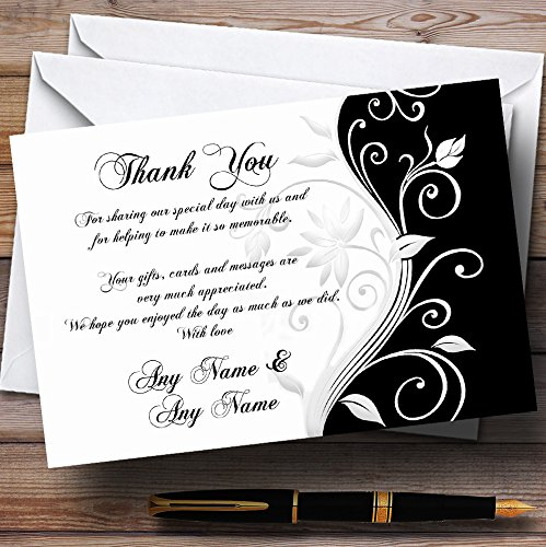 White Black Scroll Personalized Wedding Thank You Cards (Card Scroll)