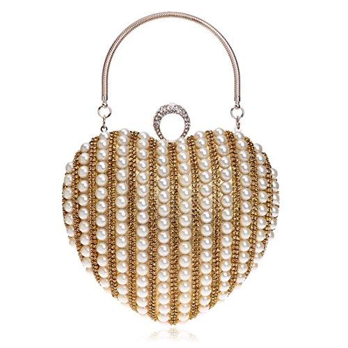 Purse Ladies KERVINFENDRIYUN Color Dress Messenger Evening Shape Pearl Handbag Clutch Gold Silver Bag Bag Heart Bride Banquet 7ddq4rw