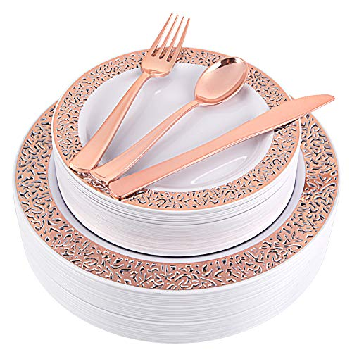 Rose Gold Plates, Rose Gold Silverware, Party Plates with Lace Design, Wedding Plastic Plates, Plastic Flatware, Heavy Weight, Durable Dinnerware, Enjoylife(Rose Gold) (rose gold 150) ()