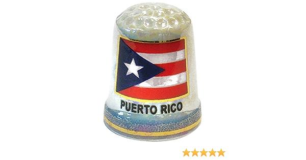 Thimble Puerto Rico Flag Souvenir Pearlized Porcelain Thimble