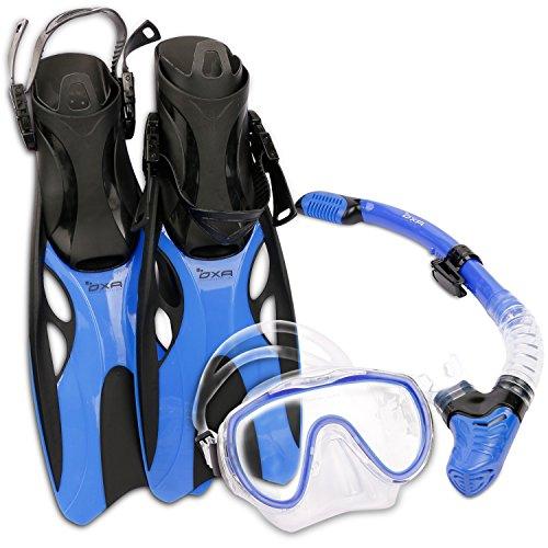 OXA Scuba Tauch Schnorchel Set mit Trockenschnorchel und Maske mit Glasfenster sowie Schwimmflossen (Blau, S/M (37-41))
