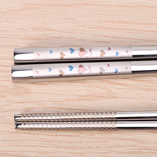 Portable Stainless Steel Sushi Chopsticks Creative Engraving Rose Heart Pattern Tableware 9.25 Inch (Heart) by Zerone (Image #3)