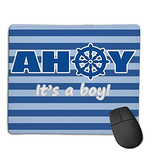 (Mouse Pad Non-Slip Thick Rubber Large MousepadAhoy Its a Boy,Baby Shower New Birth Announcement Marine Wheel Striped Backdrop,Light Blue Blue White,Suitable for Notebook Desktop Computers,Mouse Pad)