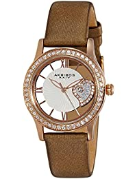 Women's AK811BR Quartz Movement Watch with Rose Gold and See Thru Heart Dial Featuring a Brown Satin Strap