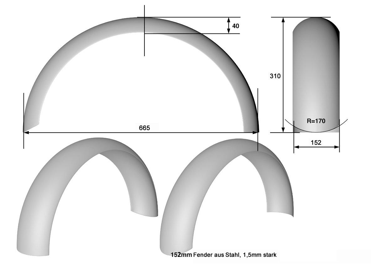 oberfl/ächenverzinkt Breite 150 mm Dicke Universeller Heckfender aus Stahl 1,5 mm ohne B/ördelung.