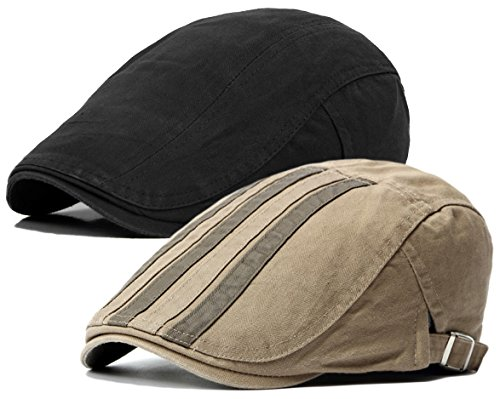 Qunson 2 Pack Men's Cotton Flat Cap Ivy Gatsby Newsboy (Scally Flat)
