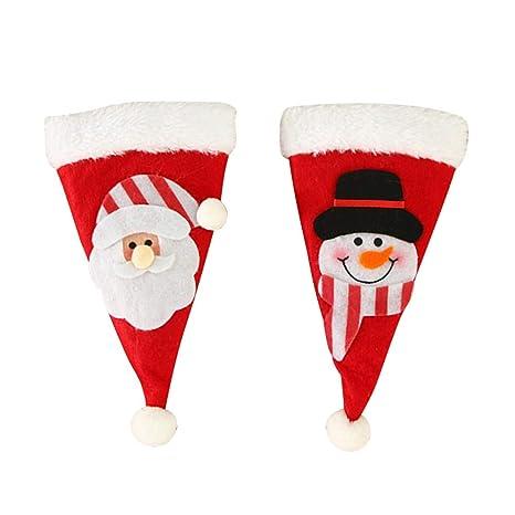 Toyvian 6pcs Navidad Cubiertos de Plata Bolsillos Sombrero de Navidad con Patrones de muñeco de Nieve
