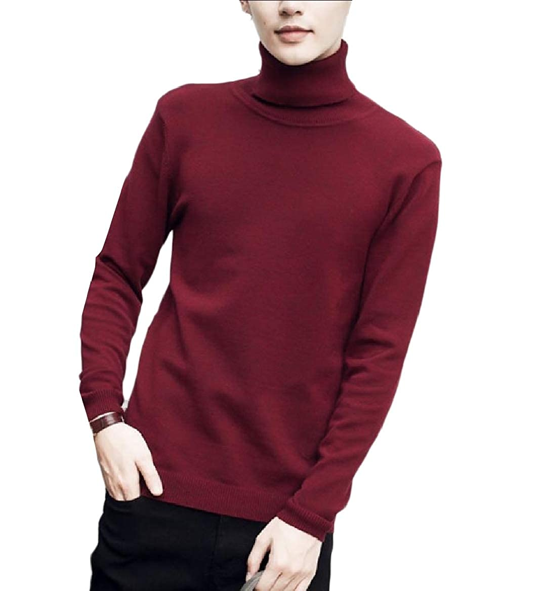 YUNY Men Warm Solid Regular-Fit Knit Turtleneck Comfy Sweater Pullover Wine Red 3XL