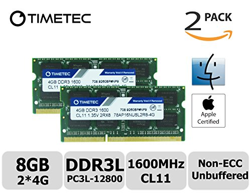 Timetec Hynix IC Apple 8GB Kit (2x4GB) DDR3L 1600MHz PC3L-12800 SODIMM Memory Upgrade For MacBook Pro 13-inch/15-inch Mid 2012, iMac 21.5-inch Late 2012/Early 2013,27-inch Late 2012/ 2013,Retina 5K display Late 2014/Mid 2015,Mac mini Late 2012/ Server (8GB Kit (2x4GB))