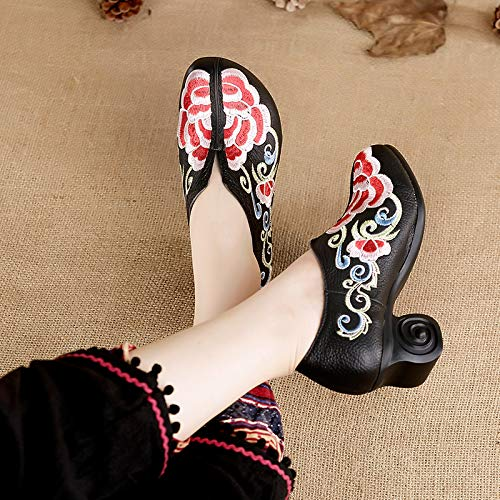Shoes Shoes Middle Soft Gules KPHY Heel Thick Ethnic Leather Mama And Spring Forty Real Autumn Shoes Bottom Embroidered Women'S Shoes Single 55qUOP