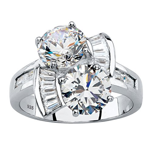Platinum over Sterling Silver Round and Baguette Cubic Zirconia 2-Stone Bypass Ring Size 8 from Palm Beach Jewelry