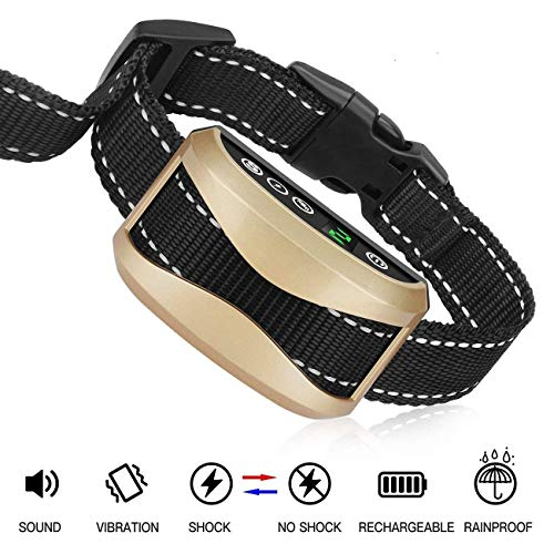 Bark Collar [2019 Upgrade Version] 7 Sensitivity Rechargeable Dog Barking Collar Beep/Vibration/Safe Shock Or No/Anti Bark Reflective Collar for Small Medium Large Dogs (Best Collars For Poodles)