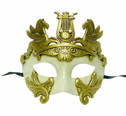 Venetian Mask White Crystal Gold & (Roman Style Venetian Hand Painted Mask in Gold/White with)