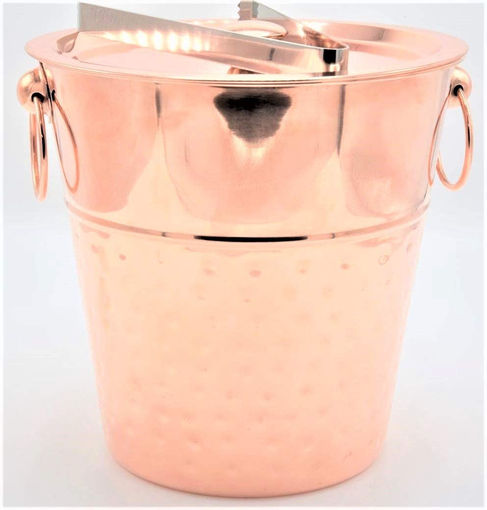 Champagne Bucket with Lid and Carry Handles. 5 Liter. Great Chilling Wine, Beer, Drinks and other Beverages. Stainless Steel Bucket Copper Color.