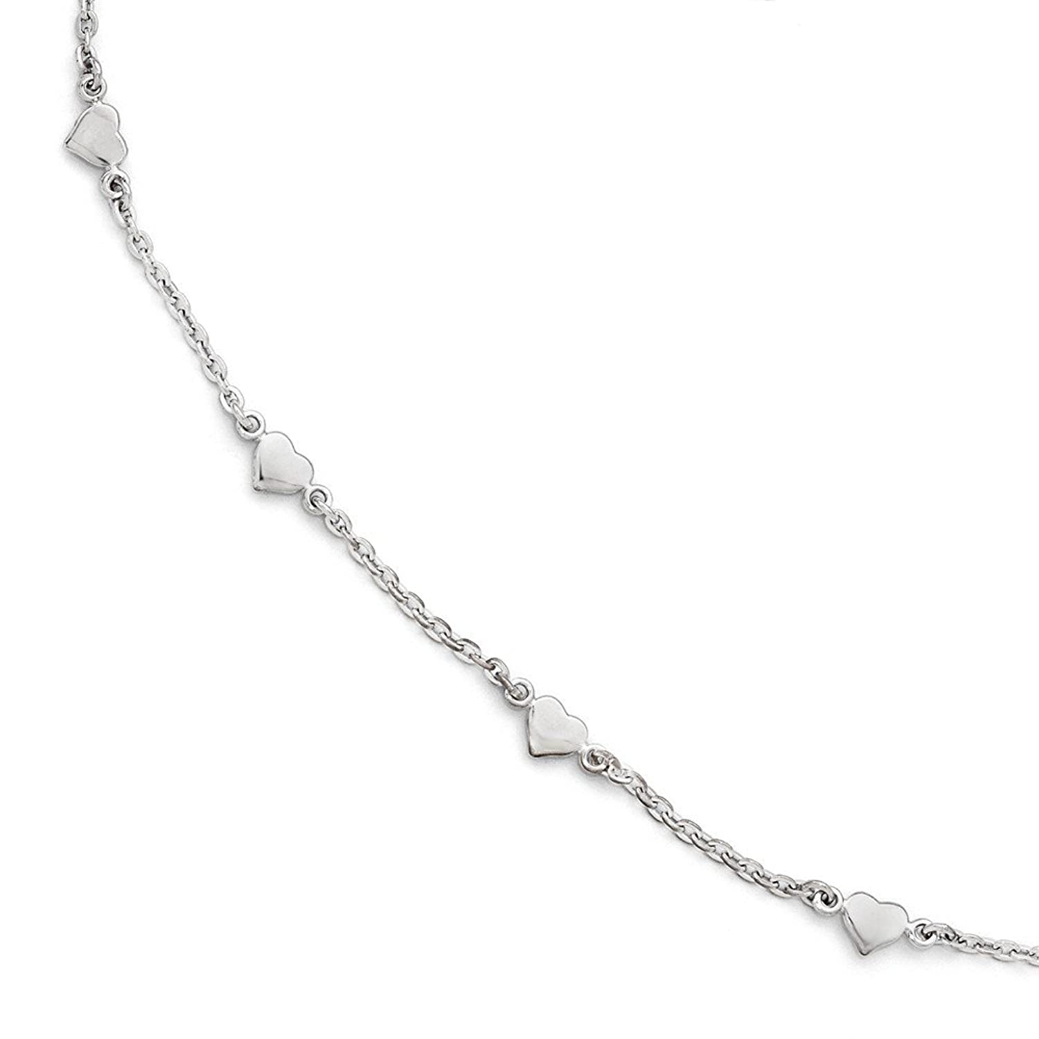 Solid Sterling Silver Polished Heart 9 with 1in extention - with Secure Lobster Lock Clasp (1.4mm)